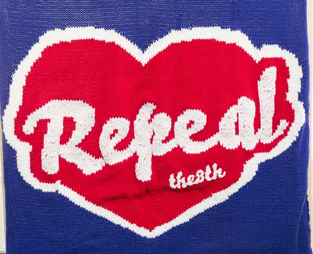 Knitted Repeal banner