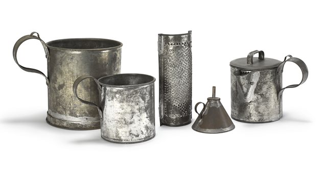 Group of tin objects